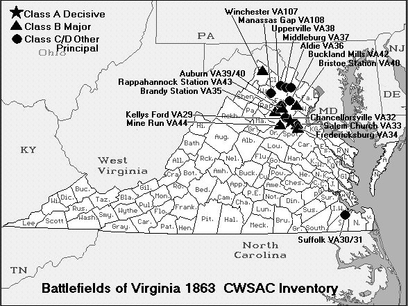 Battle Map of Virginia 1863